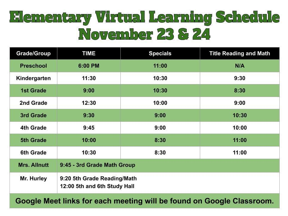 Elementary Virtual Learning Schedule November 23 & 24